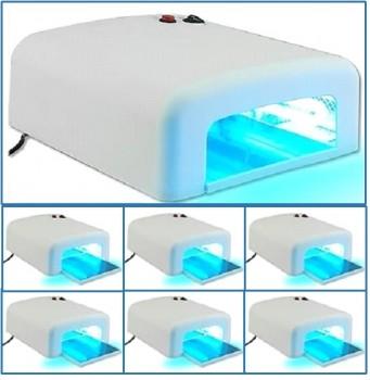 6 × Lampe UV Ongles, Appareil de soin, 36 W, incl. 4 tubes jumeaux et un minuteur