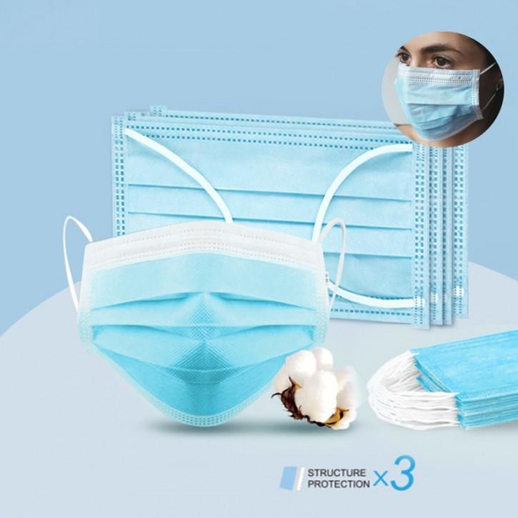 Masque chirurgical à usage unique, 3 couches, masque facial efficace pour une protection contre la poussière, certifié CE et FDA