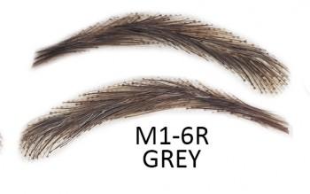 Faux sourcils semi-permanents à coller, d'origine 100 % naturelle - fait à la main, M1-6R grey