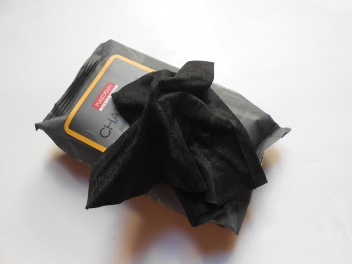 Lingettes démaquillantes au charbon PUREDERM, lingettes noires pour le visage
