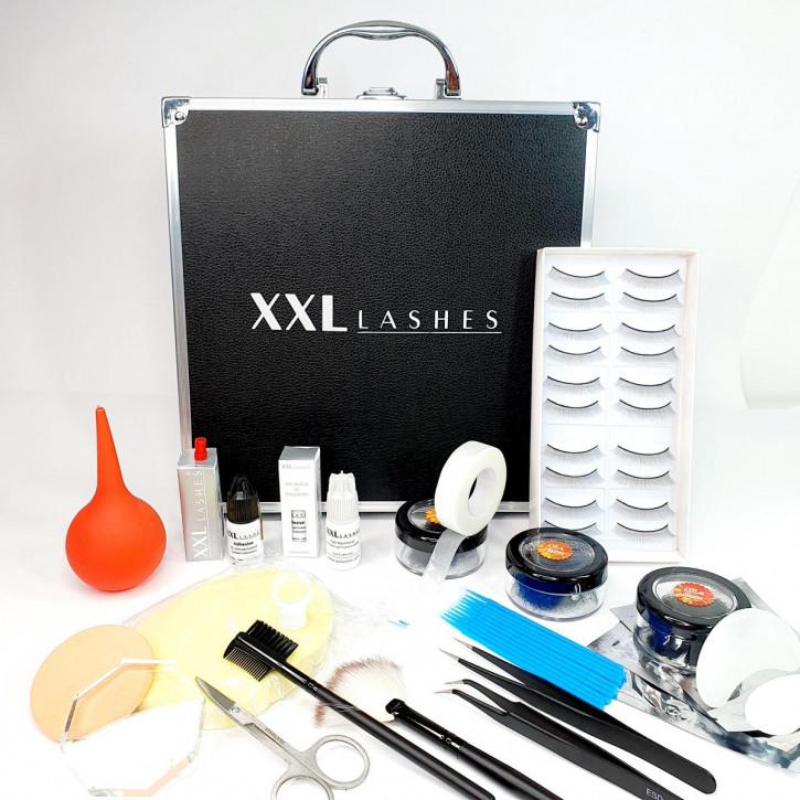 Kit de débutant XXL Lashes pour extensions de cils, comprend un coffret noir avec l'équipement de base pour les stylistes débutantes, y compris le manuel