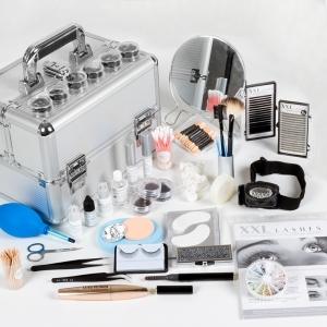 Kit de luxe XXL Lashes pour extensions de cils et stylistes de cils avec des produits de haute qualité, colle à cils, démaquillant ....