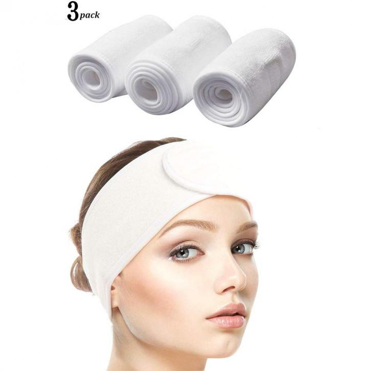 3 bandeaux en tissu éponge blanc avec velcro réglable