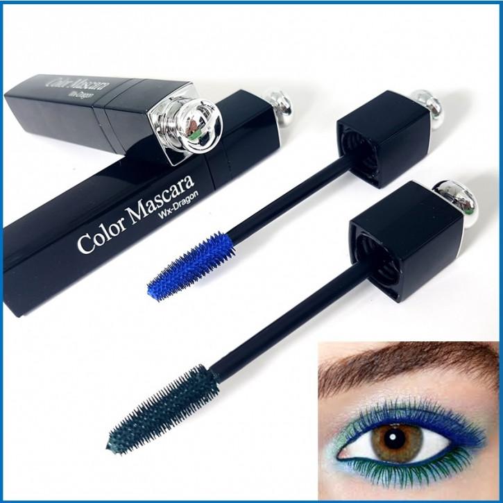 Mascara bleu et vert, à base d'eau, mascara avec un design chic adapté aux extensions de cils